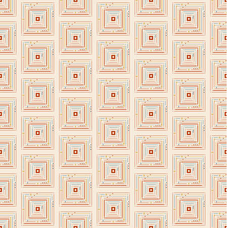 Thin squares with small circles seamless pattern.