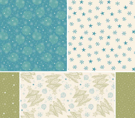 Christmas tree, balls, stars hand drawn seamless patterns. Blue green pastel colors. Set of patterns for cards, fabric, wrapping paper. Uneven lines