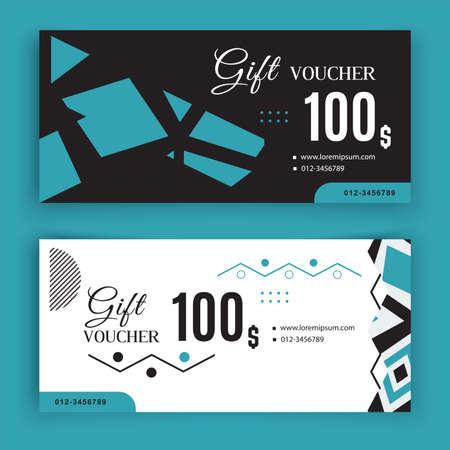 Vector gift voucher template. Universal flyer for business. black white blue vector design for department stores, business. Value 100 dollars. Vecteurs