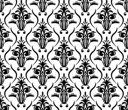 Vintage seamless seamless pattern. As Damask baroque style . Black and white floral element. Graphic ornate background for wallpaper, fabric Vettoriali