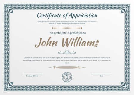 Vintage ornamental border certificate. Business simple design. Vector illustration