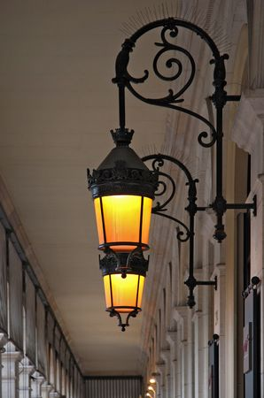 halogen lighting: Old classic street lamp in the open air gallery