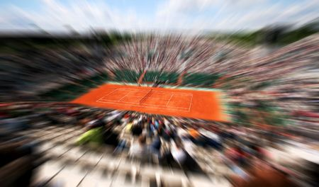 tribune: Sports tennis arena with public in a dynamic motion