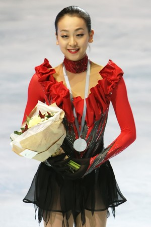 mao: PARIS - OCTOBER 17: Mao ASADA of Japan poses during medal ceremony winning silver at Eric Bompard Trophy October 17, 2009 at Palais-Omnisports de Bercy, Paris, France.