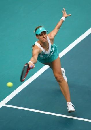 PARIS - FEBRUARY 10: Elena DEMENTIEVA of Russia in action Open GDF Suez 2st round match on February 10, 2010 in Paris, France