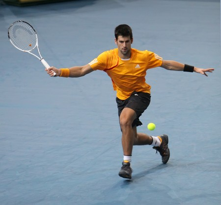 palais: PARIS - NOVEMBER 12: Novak DJOKOVIC of Serbia during the 4th round match at BNP Paribas Masters, Palais Omnisports de Bercy on November 12, 2009 in Paris, France.