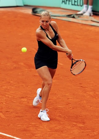 grand slam: PARIS - MAY 23: Elena Vesnina of Russia during her match at French Open, Roland Garros on May 23, 2009 in Paris, France.