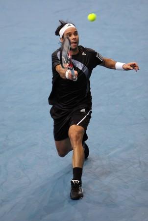 paribas: PARIS - NOVEMBER 12: Fernando GONZALEZ of Chile during the 4th round match vs Juan Martin Del Potro at BNP Paribas Masters, Palais Omnisports de Bercy on November 12, 2009 in Paris, France. Editorial