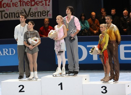 PARIS - OCTOBER 17: Winners of medals in pair skating during the medal ceremony of the ISU Grand Prix Eric Bompard Trophy on October 17, 2009 at Palais-Omnisports de Bercy, Paris, France.