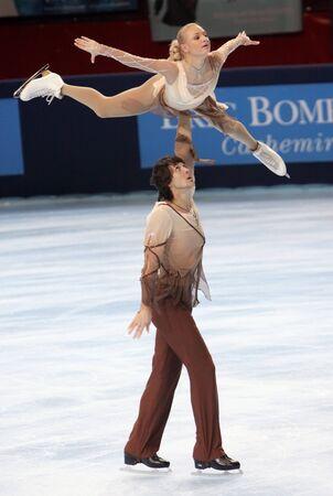PARIS - OCTOBER 16: Maria Mukhortova and Maxim Trankov of Russia during pairs short skating event at Eric Bompard Trophy October 16, 2009 at Palais-Omnisports de Bercy, Paris, France.