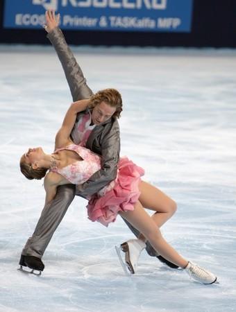 PARIS - OCTOBER 16: Nathalie Pechalat and Fabian Bourzat of France perform compulsory dance at Eric Bompard Trophy October 16, 2009 at Palais-Omnisports de Bercy, Paris, France.