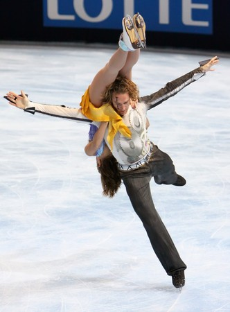 PARIS - OCTOBER 17: Nathalie Pechalat and Fabian Bourzat of France perform free dance at Eric Bompard Trophy October 17, 2009 at Palais-Omnisports de Bercy, Paris, France.