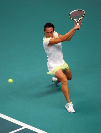tennis skirt: PARIS - FEBRUARY 9: Francesca SCHIAVONE of Italy returns the ball at Open GDF Suez 1st round match on February 9, 2010 in Paris, France