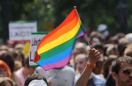 homosexual: PARIS - el 26 de junio: Al ondas persona con la bandera del arco iris para apoyar los derechos gays durante el desfile del orgullo gay de París, en París, Francia, 26 de junio de 2010.