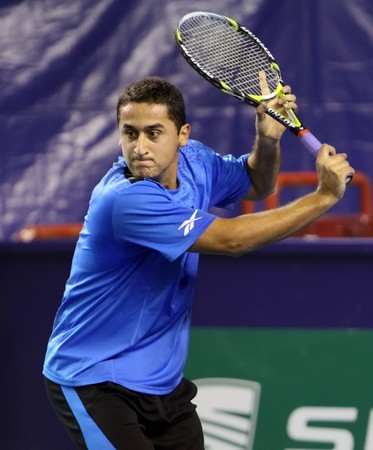 PARIS - NOVEMBER 10: Nicolas ALMAGRO of Spain during 2nd round match against Marco Chiudinelli at BNP Paribas Masters, Palais Omnisports de Bercy on November 10, 2009 in Paris, France.