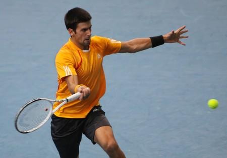 paribas: PARIS - NOVEMBER 12: Novak DJOKOVIC of Serbia during the 4th round match at BNP Paribas Masters, Palais Omnisports de Bercy on November 12, 2009 in Paris, France.