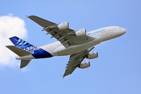 airliner: PARIS - JUNE 21: Airbus A380 exhibition flight at Le Bourget Air Show on June 21, 2009 in Paris, France Editorial