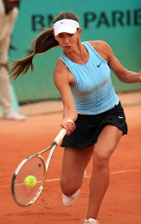 rus: PARIS - MAY 21: Russian professional tennis player ANASTASIA PIVOVAROVA during her match at French Open, Roland Garros on May 21, 2008 in Paris, France.