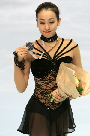 PARIS - NOVEMBER 15: Japanese figure skater Mao Asada poses during medal ceremony at ISU Grand Prix - Eric Bompard Trophy in Bercy, Paris, France on November 15, 2008. Stock Photo - 7737055