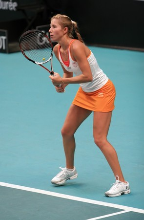 PARIS - FEBRUARY 11: Ukraine's tennis player Alyona Bondarenko plays at Open GDF SUEZ WTA tournament, Pierre de Coubertin stadium on February 11, 2009 in Paris, France. Stock Photo - 7737073