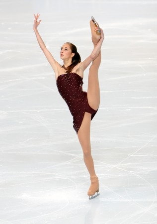 French figure skater Candice DIDIER during the Ladies short skating event of the Eric Bompard Figure Skating trophy on November 14, 2008 at the Palais-Omnisports de Paris-Bercy, France. This is Candice's short program as of season 2008/2009. Stock Photo - 7251671