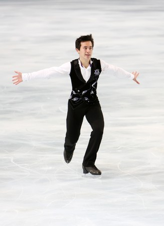 Canadian figure skater Patrick Chan during the Men short skating event of the Eric Bompard Figure Skating trophy on November 14, 2008 at the Palais-Omnisports de Paris-Bercy in Paris This is Patrick's short program as of season 2008/2009 Stock Photo - 7251673