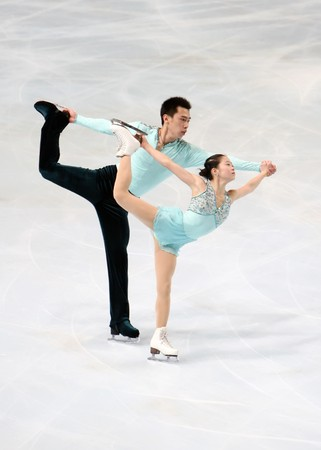 dong: Chinas Huibo DONG and Yiming WU during the pairs short program event of Eric Bompard trophy, the fourth in the six-leg Grand Prix figure skating series at Paris-Bercy, France, 14 November 2008. This is pairs free program as of season 20082009.