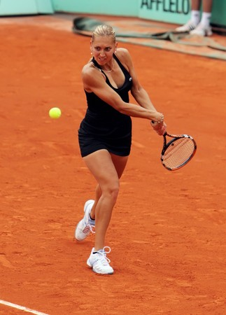 PARIS - MAY 23: Elena Vesnina of Russia during her match at French Open, Roland Garros on May 23, 2009 in Paris, France.