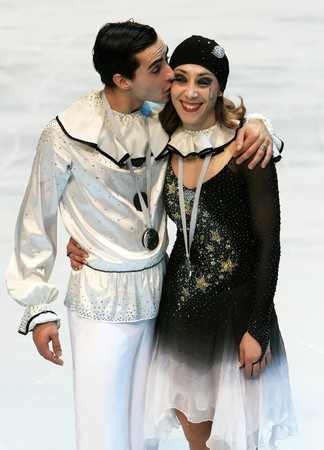 PARIS - NOVEMBER 15: Italian ice dancers Italiy's Federica Faella / Massimo Scali pose during medal ceremony at ISU Grand Prix - Eric Bompard Trophy in Bercy, Paris, France on November 15, 2008. Stock Photo - 7737130
