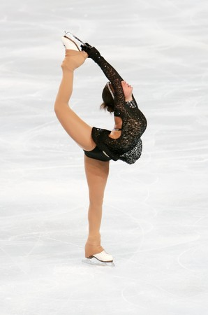Georgian figure skater Elene GEDEVANISHVILI during the Ladies short skating event of the Eric Bompard Figure Skating trophy on November 14, 2008 at the Palais-Omnisports de Paris-Bercy, France. This is Elene's short program as of season 2008/2009. Stock Photo - 7251686
