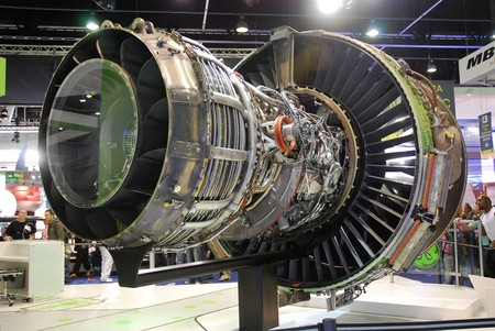 turbofan: PARIS - JUNE 21: GEnx jet engine (turbofan) rare view at Le Bourget Air Show on June 21, 2009 in Paris, France. GEnx engine is chosen by Boeing for its 787 and 747-8 aircrafts.