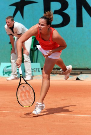 PARIS - MAY 23: Slovakias professional tennis player Jarmila Gajdosova (Groth) during her match at French Open, Roland Garros on May 23, 2008 in Paris, France.