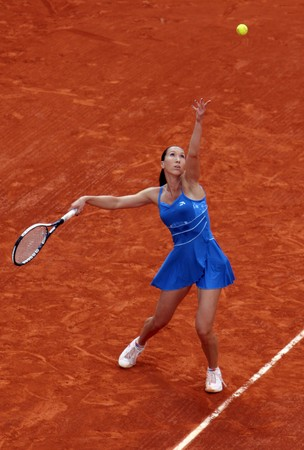 PARIS - JUNE 1: Jelena Jankovic of Serbia serves at French Open, Roland Garros on June 1, 2009 in Paris, France.