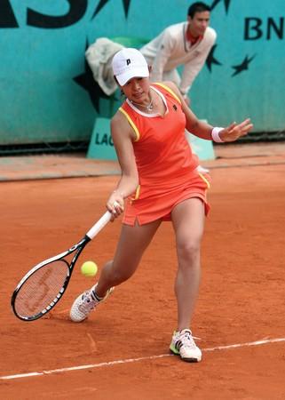 Parigi - 21 maggio: Giapponese tennista JUNRI NAMIGATA durante la sua corrispondenza al French Open, Roland Garros del 21 maggio 2008 a Parigi, Francia. Editoriali
