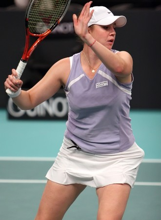 PARIS - FEBRUARY 11: Russian tennis player Alisa Kleybanova plays at Open GDF SUEZ WTA tournament, Pierre de Coubertin stadium on February 11, 2009 in Paris, France. Stock Photo - 7737202