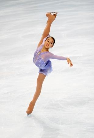 Japanische Eiskunstläuferin Mao Asada während der Kurzarm Eislaufen Ereignis der Eric Bompard Figure Skating Trophy auf November 14, 2008 am Palais Omnisports de Paris-Bercy, Frankreich. Dies ist Maos Kurzprogramm der Saison 2008/2009. Editorial