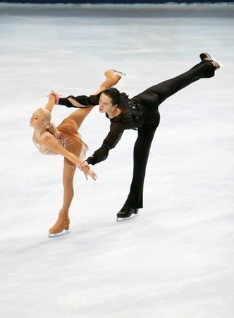Russia's Maria MUKHORTOVA / Maxim TRANKOV at the Eric Bompard trophy, the fourth in the six-leg ISU Grand Prix figure skating series at Paris-Bercy, France, 14 November 2008. This is pair's free program as of season 2008/2009. Stock Photo - 7737230