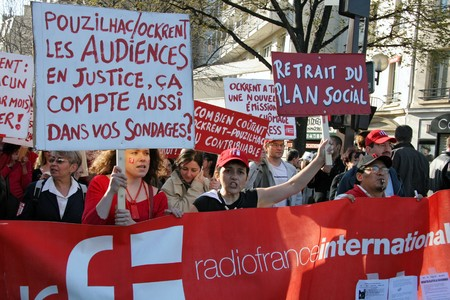 PARIS - MARCH 19: Radio France International demonstrates during Frances second nationwide strike this year, to demand social security and protection form the crisis, on March 19, 2009, in Paris, France