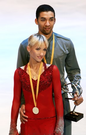 PARIS - NOVEMBER 15: German ice skaters Aliona Savchenko / Robin Szolkowy pose during medal ceremony at ISU Grand Prix - Eric Bompard Trophy in Bercy, Paris, France on November 15, 2008. Stock Photo - 7737279