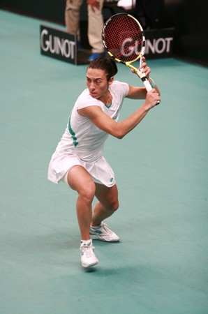 PARIS - FEBRUARY 11: Italy's tennis player Francesca Schiavone hits backhand at Open GDF SUEZ WTA tournament, Pierre de Coubertin stadium on February 11, 2009 in Paris, France. Stock Photo - 7737281