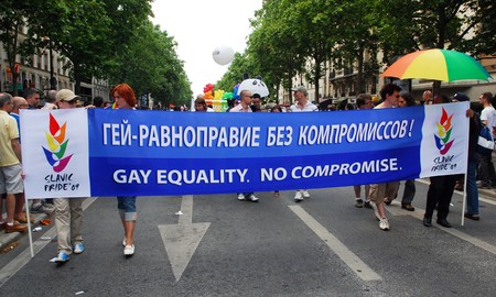 PARIS - JUNE 27: Russian gay activists participate in the Paris Gay Pride parade to support gay rights and demand equality, on June 27, 2009 in Paris, France.