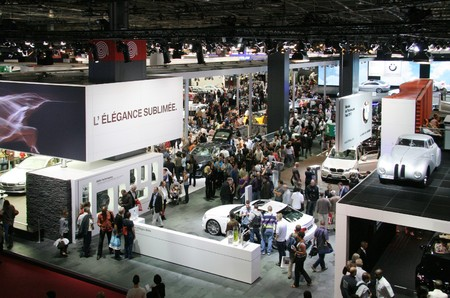 show: PARIS - OCTOBER 11: Visitors at the Paris Motor Show 2010 at Porte de Versailles, on October 11, 2010 in Paris, France Editorial
