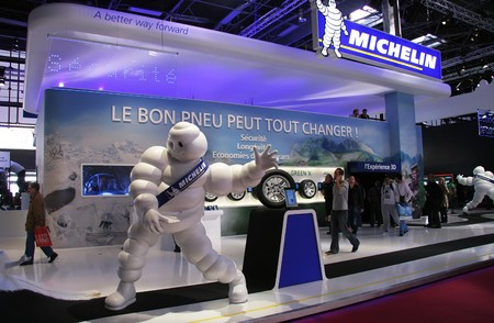 PARIS - OCTOBER 11: The Michelin stand at the Paris Motor Show 2010 at Porte de Versailles, on October 11, 2010 in Paris, France