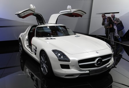 PARIS - OCTOBER 11: Mercedes SLS AMG handcrafted vehicle at the Paris Motor Show 2010 at Porte de Versailles, on October 11, 2010 in Paris, France
