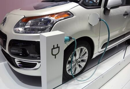motor show: PARIS - OCTOBER 11: Valeo electric vehicle system mounted on a Citroen car at the Paris Motor Show 2010 at Porte de Versailles, on October 11, 2010 in Paris, France Editorial