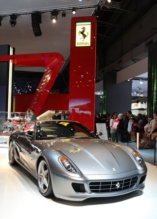 PARIS - OCTOBER 11: Ferrari 599 GTB Fiorano at the companys stand during the Paris Motor Show 2010 at Porte de Versailles, on October 11, 2010 in Paris, France