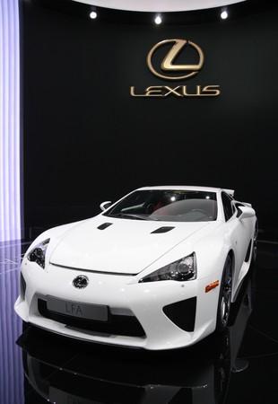 lexus auto: PARIS - OCTOBER 11: Lexus LFA Sports is displayed at the Paris Motor Show 2010 at Porte de Versailles, on October 11, 2010 in Paris, France