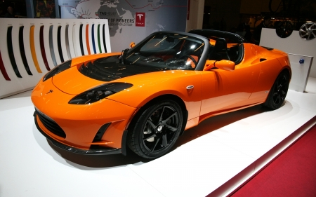 electric automobile: PARIS - OCTOBER 14: The Tesla Roadster electric automobile at the Paris Motor Show 2010 at Porte de Versailles, on October 14, 2010 in Paris, France