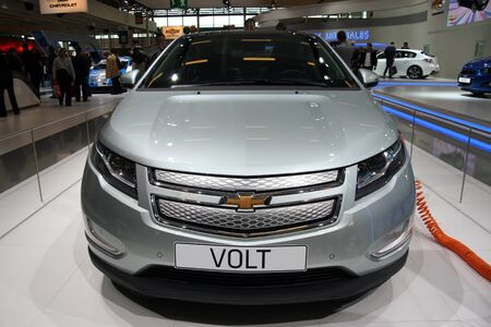 volts: PARIS - OCTOBER 14: Chevrolet Volt front view at the Paris Motor Show 2010 at Porte de Versailles, on October 14, 2010 in Paris, France Editorial