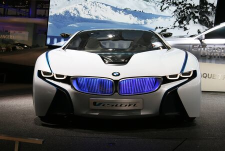 PARIS - OCTOBER 14: BMW Vision EfficientDynamics - an electric hybrid roadster at the Paris Motor Show 2010 at Porte de Versailles, on October 14, 2010 in Paris, France Stock Photo - 7996677
